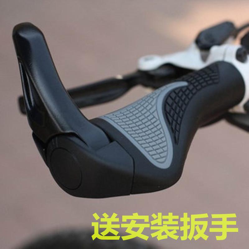 單車山地車把手橡膠自行車把套鋁合金副把羊角肉球 裝備