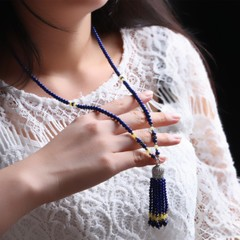 Pro-Bao Crystal natural Violet Blue lapis lazuli Crown necklace 925 sterling silver women jewelry women patrons seconds