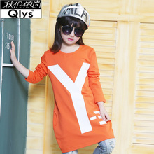 Girls, 2015 the new spring in the children's clothes girls long pure color children round collar han edition, backing long-sleeved dress