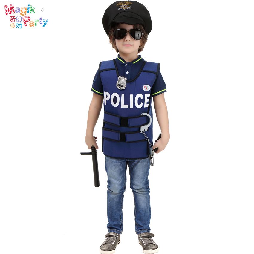 兒童節兒童演出服裝角色扮演男童警察協警保安表演服飾警察背心服