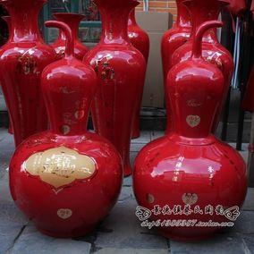 景德镇落地大花瓶中国红龙凤葫芦瓶