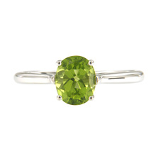 Become the baht 925 silver inlaid natural sea peridot ring August birthday stone Green gem elliptical 6 by 8