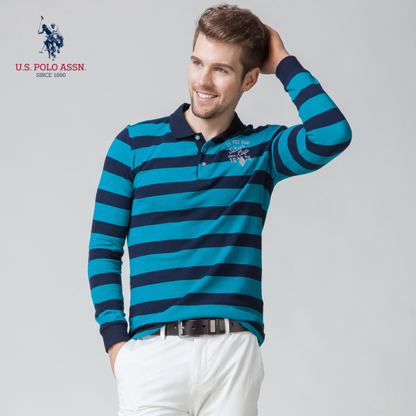Men's long-sleeved polo shirt cotton striped lapel 2016 spring and autumn new men's long-sleeved T-shirt American US