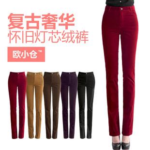 Новые брюки вельвет брюки осенью талии прямые джинсы больших ярдов пригородных тонкие брюки случайные штаны полосы женщина ол