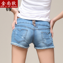 2015 new han edition elastic cultivate one's morality show thin denim shorts female natsushio bf hot pants tight short shorts flash light color
