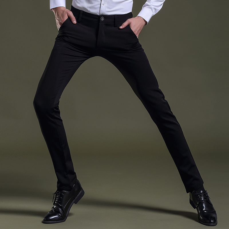 Spring business casual mens pants trend mens slim Leggings mens straight pants suit trousers with leather shoes