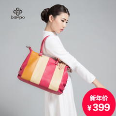 Banpo ornaments new leather handbag fashion stripe ladies commuting package Europe casual leather shoulder handbag