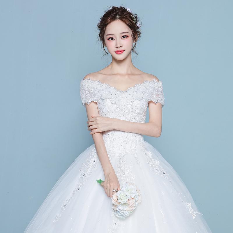Слово плечо свадьба платья 2017 новый корейский невеста выйти замуж большой двор тонкий долго продольный мазок ровная земля принцесса зима