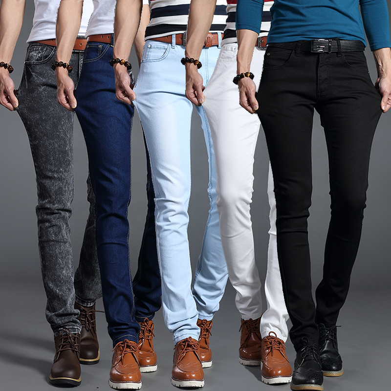 Spring and summer high elastic primary color jeans Leggings youth casual pants Korean slim