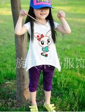 厂家热销兔子卡通女童长款t恤 夏季韩版短袖童T恤