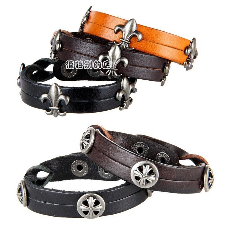Натуральной кожи браслет браслет для мужчин и женщин пара с узкой стороны кольца ювелирные изделия тонкой ручной заклепки браслет крест браслет черный и коричневый