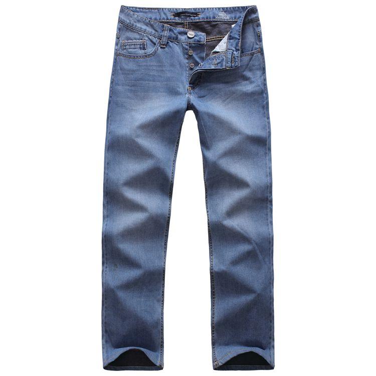 Внешней торговли оригинальный Немецкий Мужская мода кнопки старинный светло синий джинсовые брюки регулярные