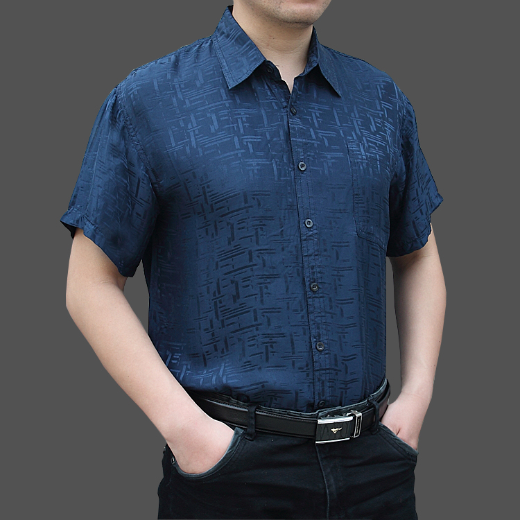 New mid aged and elderly mens silk short sleeve shirt ss17 large silk mens silk silk shirt