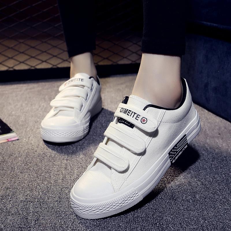 2019春季新款百搭懒人帆布鞋chic休闲韩版学生魔术贴小白女鞋布鞋