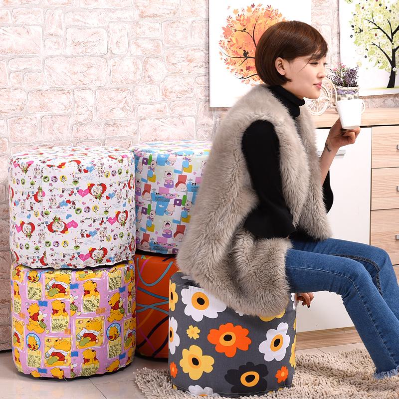 智亞布藝沙發凳子可拆洗 圓凳實木換鞋凳梳妝凳穿鞋凳矮凳小凳
