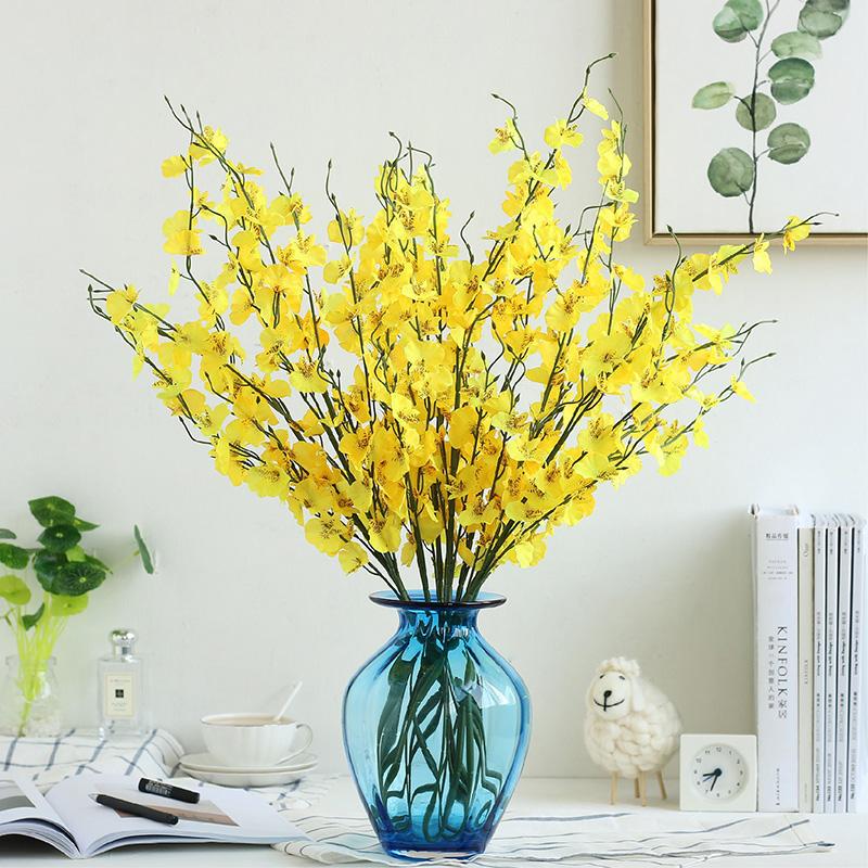 黃色跳舞蘭6支 臥室客廳餐桌裝飾花假花仿真花套裝幹花花束絹花