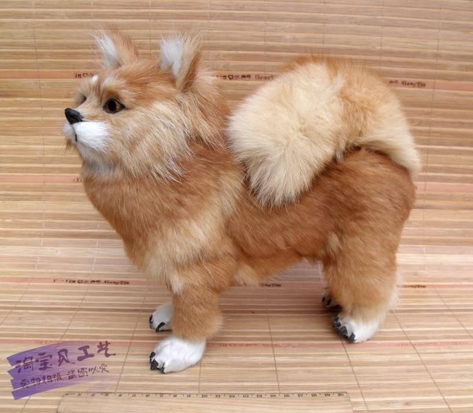 真皮毛仿真动物博美犬造型可爱场景摆件名犬仿真名狗宠物摆件动物