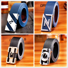 Men's belt smooth buckle belts male young han edition leisure fashion joker leather belts