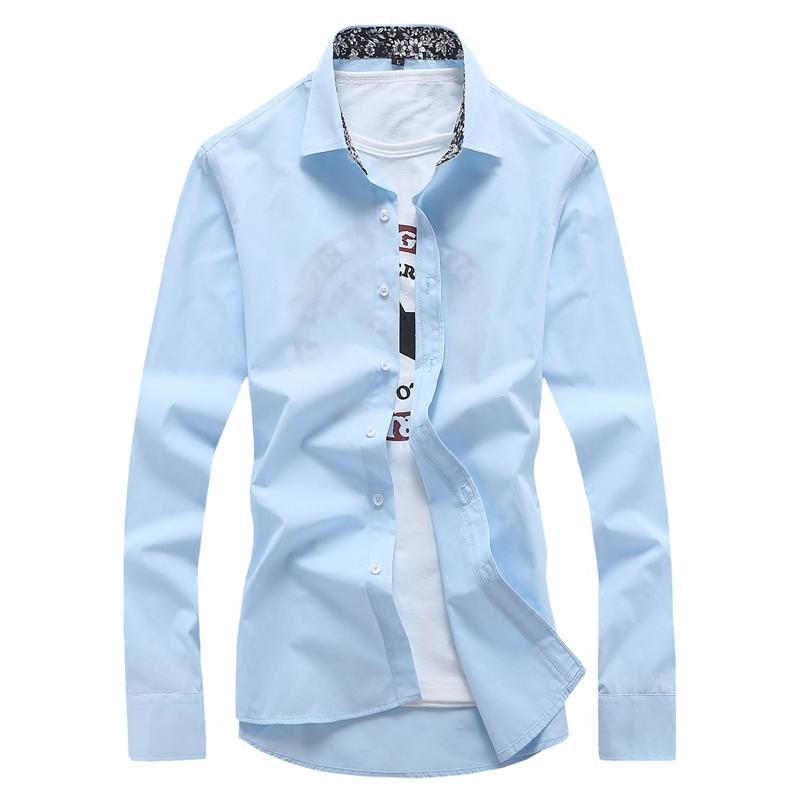 长袖衬衫男士2017秋冬韩版修身休闲白色青少年衬衣纯色寸衣男装潮