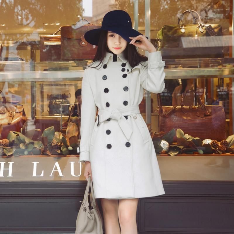 RUOYU語秋冬新作ダブルバックルラシャのコートの襟巻きのミリタリーデザインの中でロングスタイルのコートの女性