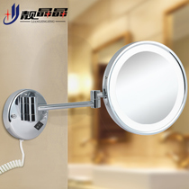 Beautiful crystal bathroom retractable with lamp beauty mirror folding led cosmetic mirror bathroom wall hanging bathroom mirror