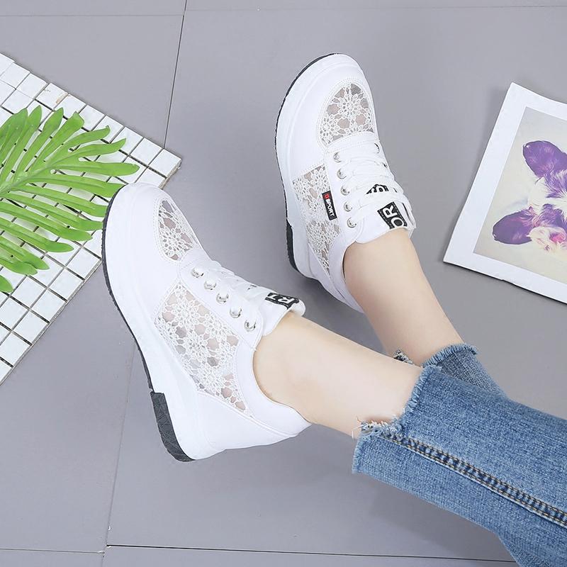 奥雅达网面鞋夏2019韩版百搭运动单鞋休闲透气网鞋内增高小白鞋女