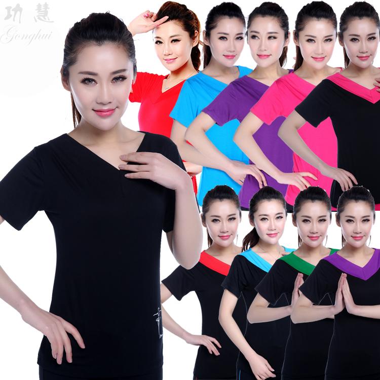2019广场舞服装夏季新款上衣女式双V领短袖跳拉丁舞蹈练功服套装