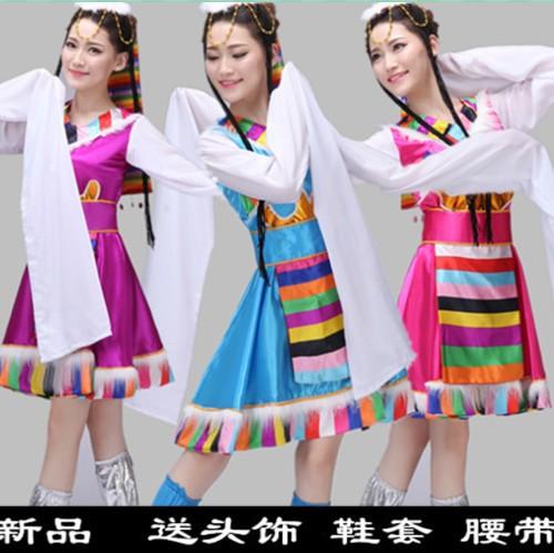 新款藏族舞蹈演出服装女装水袖服装西藏少数民族表演服装秧歌短裙