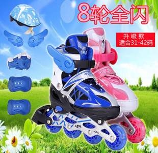 Aluminum frame eight full flash adjustable roller skates skates skates children skate luminous round