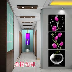 现代客厅玄关无框画钟表 竖挂走廊三联冰晶玻璃画艺术挂钟郁金香