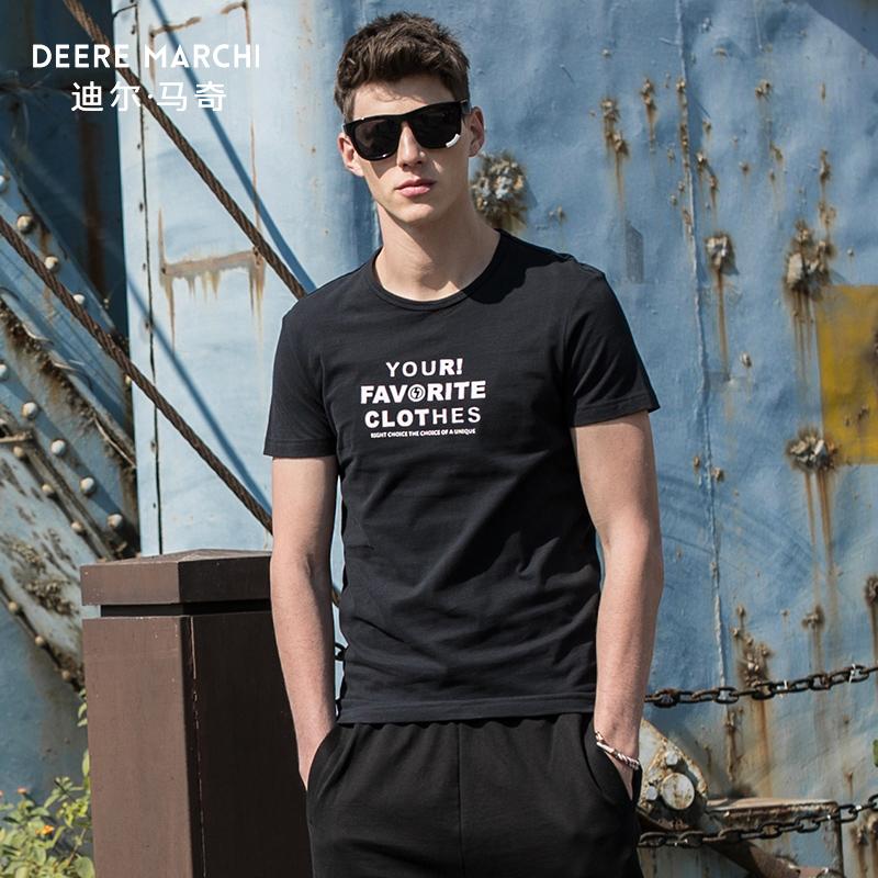 迪尔马奇2018夏季新款男士短袖T恤 潮流字母印花修身打底衫M01936