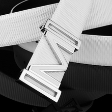 M young white letters children belt leather belt men boy smooth button ICONS belt