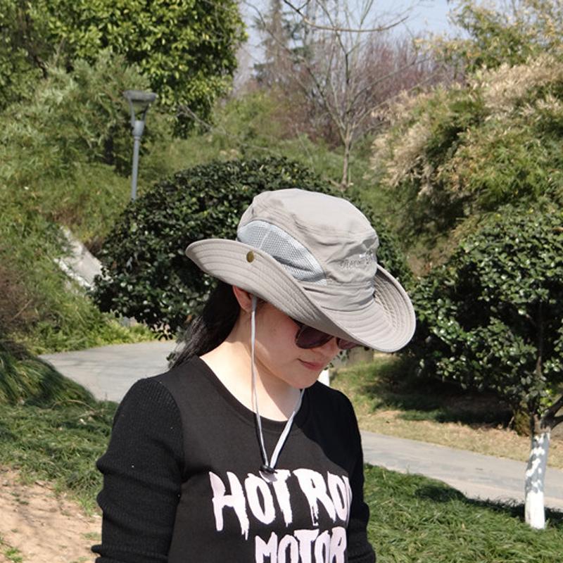 夏季戶外男女防曬遮陽帽情侶款大檐網布漁夫帽徒步攝影釣魚登山帽