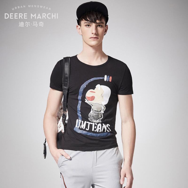 迪尔马奇2017夏季新品短t恤男学生蜡笔小新半袖圆领上衣M01859