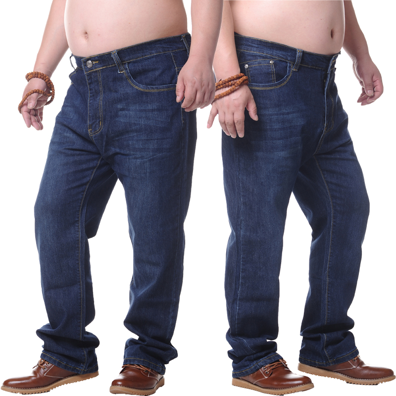 New mens stretch increased fattening high waist straight casual jeans