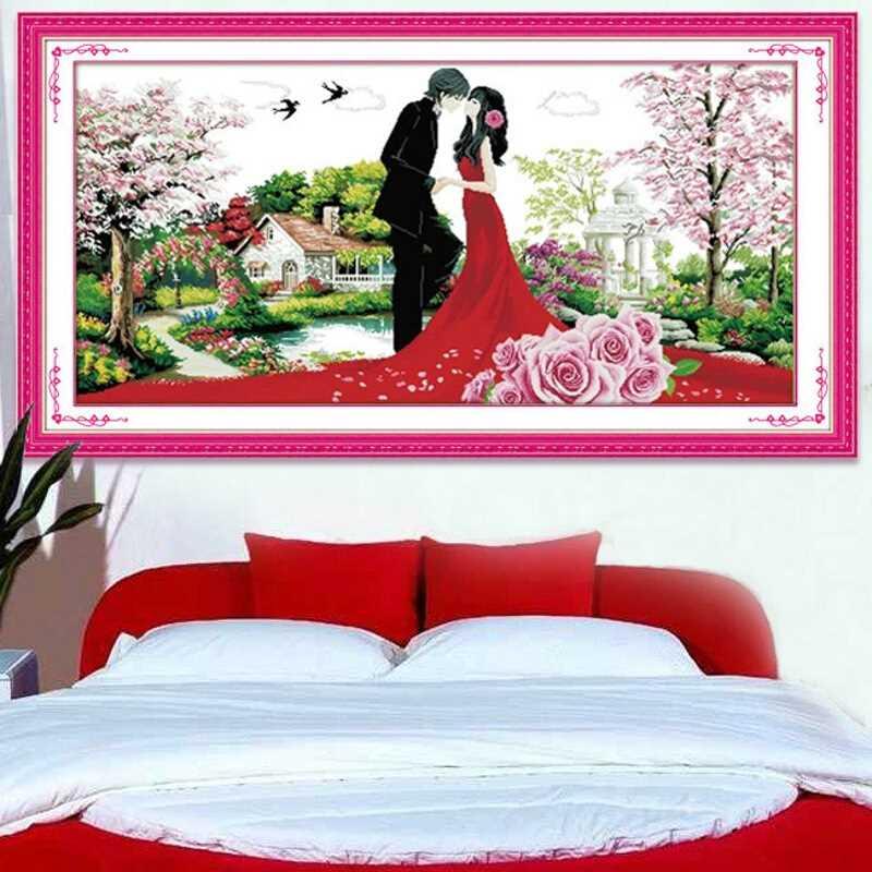 绣魁 印花婚庆十字绣结婚婚纱情侣大幅十字秀新款卧室婚房婚礼爱
