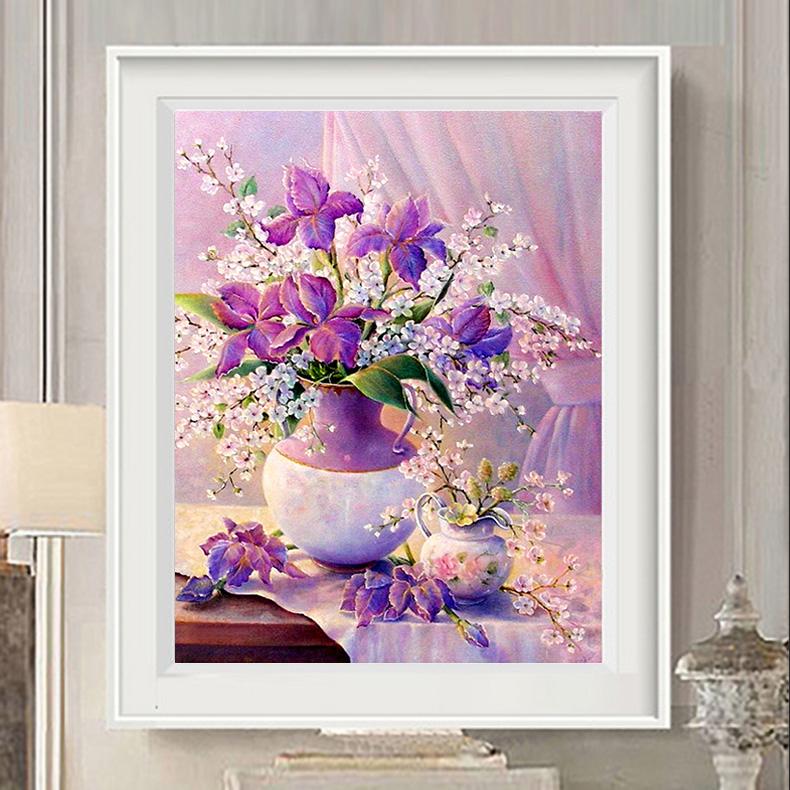 紫色优雅十字绣百合花瓶新款餐厅书房十字绣卧室牡丹花卉小幅挂画