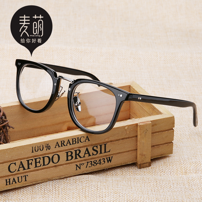 超輕複古眼鏡框女 潮 配近視眼鏡成品男大臉全框圓形眼睛框架