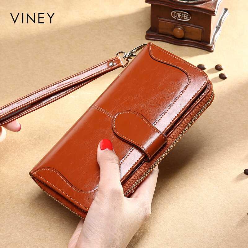 【抢】Viney钱包 女长款女士钱包新款女式卡包手拿包女油蜡牛皮手
