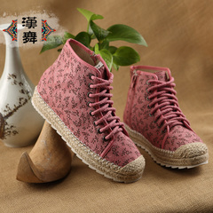 Chinese dance clearance specials fall of old Beijing cloth shoes women sneakers lace floral breathable high help shoes color cross