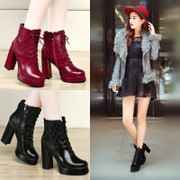 Shield Fox fall 2015 new short crude with waterproof boots high heel women's boots with rivet Europe Martin women boots