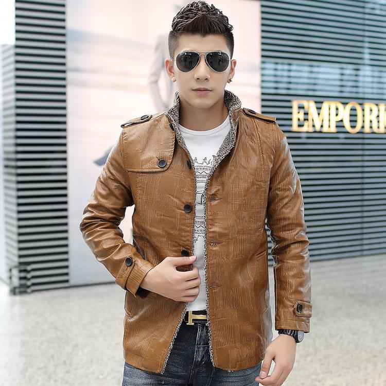 2020 medium and long PU leather jacket fur one casual coat mens super large spring and summer Korean fathers windbreaker