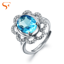 Small fat jewelry Three-dimensional flowers natural topaz stone ring female 925 silver plated platinum hollow out