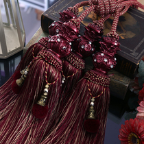 European double ball plum curtain tie ball strap sling hook hanging ball decorative fringed pendant