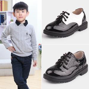 童鞋男童皮鞋黑色单...