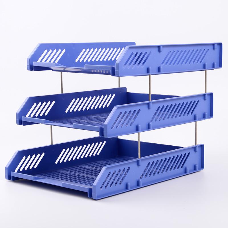 三层横式文件架文件盘耐用多层文件座办公收纳用品蓝色塑料收纳架