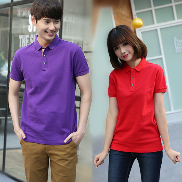 Collared t-shirt mens and womens summer big size couple student class clothes short sleeve work clothes cotton polo shirt