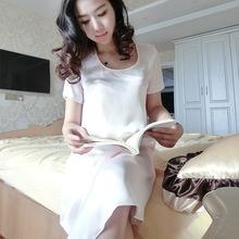 2016刘美人春夏新款粉色真丝短袖中长睡裙女装性感时尚睡衣桑蚕丝