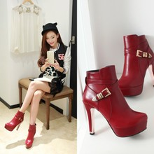 2015 and the European and American popular women's shoes with super sexy thin high-heeled shoes buckle waterproof joker short boots