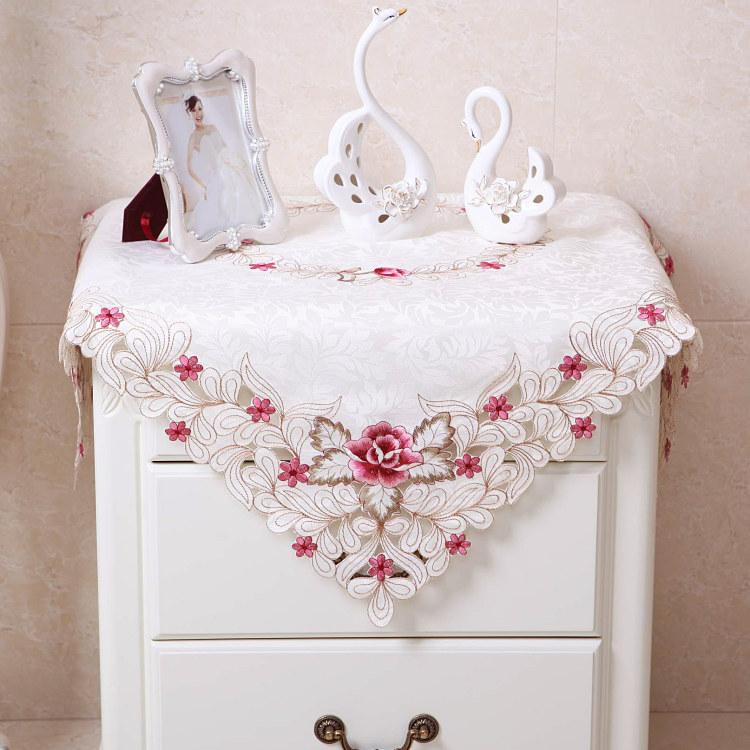 歐式田園布藝床頭櫃繡花防塵蓋布罩圓形五斗櫃蕾絲洗衣機蓋巾桌布